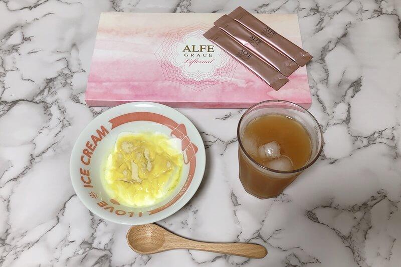 アルフェグレイスリフターナルの紅茶割りとヨーグルト